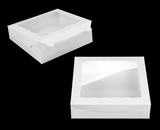 "3980 - 10"" x 10"" x 2 1/2"" White/White Lock & Tab Box with Window"
