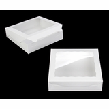 "3980 - 10"" x 10"" x 2 1/2"" White/White with Window, Lock & Tab Box with Lid"
