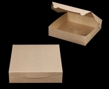 "3981 - 10"" x 10"" x 2 1/2"" Brown/Brown without Window, Lock & Tab Box with Lid. A21"