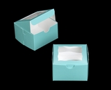 "3993 - 4"" x 4"" x 2 1/2"" Blue/White Lock & Tab Pastry Box with Window"