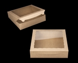 "3994 - 12"" x 12"" x 3"" Brown/Brown Lock & Tab Box with Window"