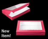 "3997 - 16"" x 11 1/2"" x 2 1/2"" Pink/White Lock & Tab Box with Window"