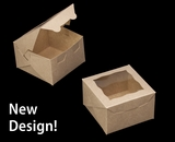 "4018 - 4"" x 4"" x 2 1/2"" Brown/Brown Fancy Box with Window. B05"