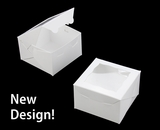 "4019 - 4"" x 4"" x 2 1/2"" White/White Fancy Box with Window. B07"