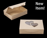 "4023 - 10"" x 7"" x 2 1/2"" Brown/Brown Heart Window, Lock & Tab Box with lid. A15"