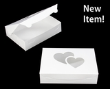 "4024 - 10"" x 7"" x 2 1/2"" White/White Heart Window, Lock & Tab Box with Lid. A18"