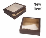 "4030 - 12"" x 12"" x 3""  Chocolate/Brown Lock & Tab Box with Window, 50 COUNT"