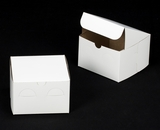 "618 - 6"" x 6"" x 4"" White/Brown without Window, Lock & Tab Box With Lid. A16"