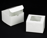 "619 - 6"" x 6"" x 4"" White/White with Window, Lock & Tab Box with Lid. A18"