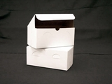 "741 - 9"" x 5"" x 4"" White/Brown without Window, Lock & Tab Box With Lid. A21"
