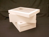 "743x293 -  19"" x 14"" x 6"" White/White Lock & Tab Box Set with Window, 50 COUNT. A25xA10"