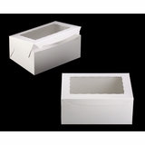 "750 - 14"" x 10"" x 6"" White/White Lock & Tab Box with Window"