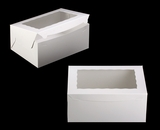 "750 - 14"" x 10"" x 6"" White/White Lock & Tab Box with Window, 50 COUNT. A21"