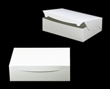 "752 - 14"" x 10"" x 4"" White/White Lock & Tab Quarter Sheet Cake Box without Window"