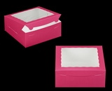 "810 - 10"" x 10"" x 4"" Pink/White with Window, Lock & Tab Box With Lid. A26"