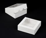 "931 - 8"" x 8"" x 2 1/2"" White/White with Window, Timesaver Box With Lid. A18"