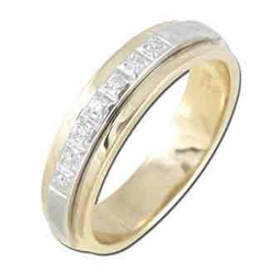 0.09 Carat Diamond 14K TWO TONE Gold MEN Rings 6.75g - Ring Size: 10 (Sizable)