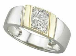 0.1 Carat Diamond 14K TWO TONE Gold MEN Rings 5.11g - Ring Size: 10 (Sizable)