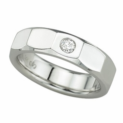 0.12 Carat Diamond 14K White Gold MEN Rings 9.41g - Ring Size: 10 (Sizable)
