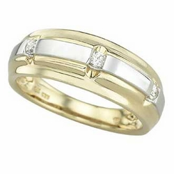 0.18 Carat Diamond 14K TWO TONE Gold MEN Rings 5.32g - Ring Size: 10 (Sizable)