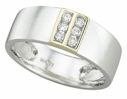 0.19 Carat Diamond 14K TWO TONE Gold MEN Rings 6.85g - Ring Size: 10 (Sizable)