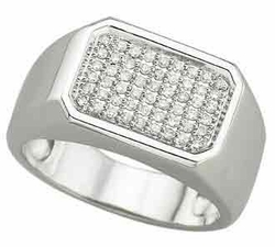 0.29 Carat Diamond 14K White Gold MEN Rings 8.3g - Ring Size: 10 (Sizable)