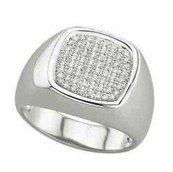 0.32 Carat Diamond 14K White Gold MEN Rings 7.79g - Ring Size: 10 (Sizable)