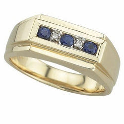 0.36 Carat Diamond Sapphire 14K Yellow Gold MEN Gemstone Rings 9.98g - Ring Size: Sizable