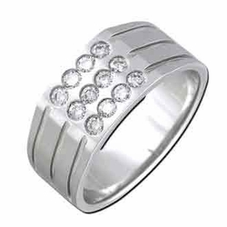 0.49 Carat Diamond 14K White Gold MEN Rings 8.39g - Ring Size: 10 (Sizable)