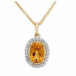 "0.87 Carat Diamond Citrine 14K Yellow Gold Gemstone Necklace 16"" -"