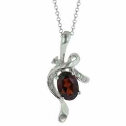 1.08 Carat Diamond Garnet 14K White Gold Gemstone Necklace 2.21g -