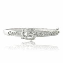 1/2ct Diamond Belt Buckle Bangle Bracelet