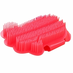1 Pcs Dogs Massage Comb Cats Bath Brush Gloves  Red