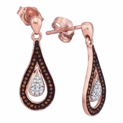 10K Rose Gold 0.21 Ctw Diamond Micro Pave Dangle Earrings 1.82g - Earrings