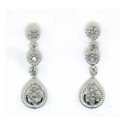 10k White Gold 0.15Ctw Round Diamond Ladies Fashion Earrings - Earrings