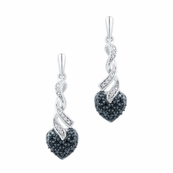 10K White Gold 0.20 Ctw Black Diamond Fashion Dangle Earrings 2.79g - Earrings