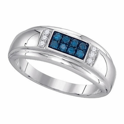 10k White Gold 0.33Ctw Blue Diamond Fashion Mens Ring - Ring