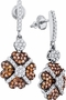 10K White Gold 1.05 Ctw Diamond Fashion Dangle Earrings 3.72g - Earrings