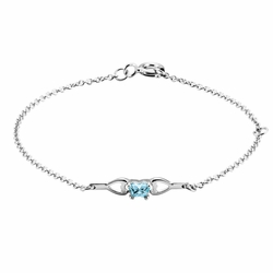 10k White Gold Blue Synthetic Cubic Zirconia Kid'S Faceted Butterfly Heart Bracelet