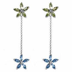 10k White Gold Blue Topaz Peridot Diamond Flower Dangle Earrings - Earrings