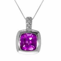 10k White Gold Created Pink Sapphire Diamond Pendant Necklace Chain