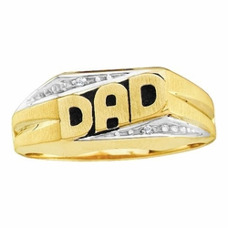 10k Yellow Gold 0.01 ctw Diamond Mens Dad Ring - Size 10 (Sizeable)