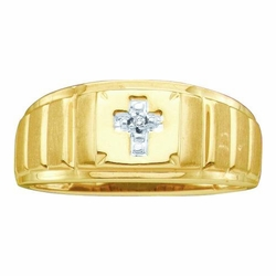 10k Yellow Gold 0.05Ctw Diamond Mens Cross Ring - Ring
