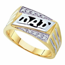 10k Yellow Gold 0.06Ctw Round Diamond Mens Cluster Dad Ring - Ring