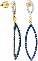 10K Yellow Gold 0.12 Ctw Diamond Fashion Dangle Earrings 2.48g - Earrings