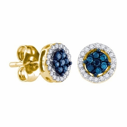 10k Yellow Gold 0.25Ctw Blue Diamond Fashion Earrings - Earrings