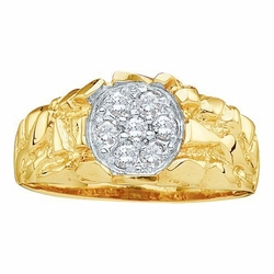 10k Yellow Gold 0.25Ctw Diamond Mens Cluster Ring - Ring