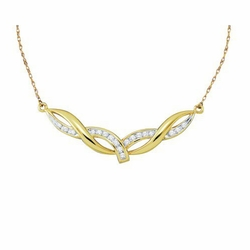10k Yellow Gold 0.33Ct  Diamond Ladies Fashion Necklace 18 Inches
