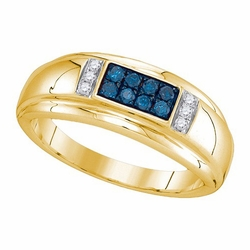 10k Yellow Gold 0.33Ctw Blue Diamond Fashion Mens Ring - Ring