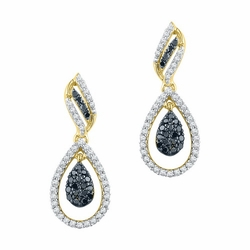 10K Yellow Gold 0.50 Ctw Black Diamond Fashion Dangle Earrings 2.5g - Earrings
